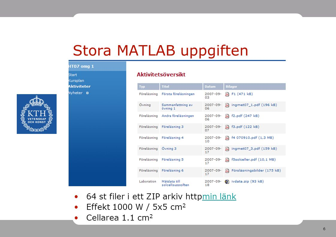 6 Stora MATLAB uppgiften 64 st filer i ett ZIP arkiv httpmin länkmin länk Effekt 1000 W / 5x5 cm 2 Cellarea 1.1 cm 2