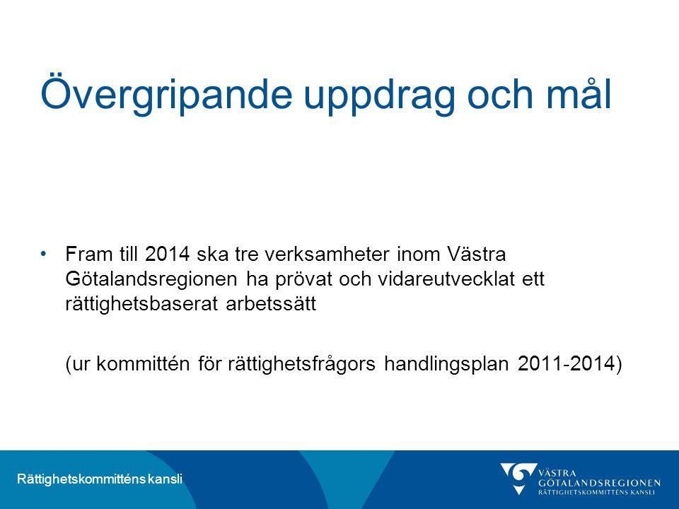 Rättighetskommitténs kansli Övergripande uppdrag och mål Fram till 2014 ska tre verksamheter inom Västra Götalandsregionen ha prövat och vidareutveckl