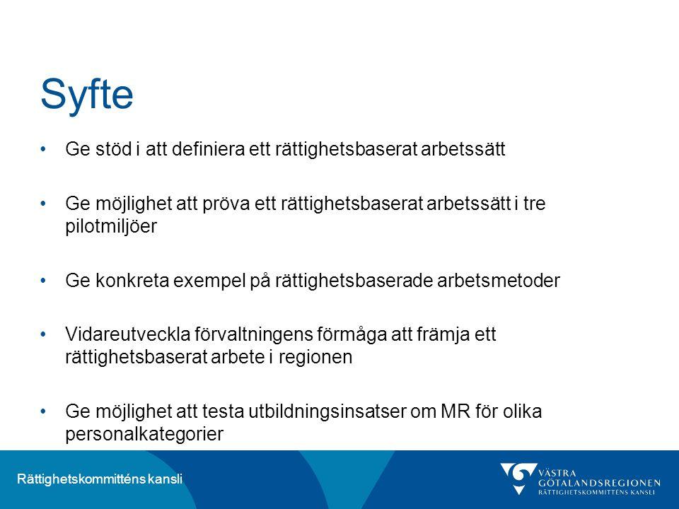 Rättighetskommitténs kansli Syfte Ge stöd i att definiera ett rättighetsbaserat arbetssätt Ge möjlighet att pröva ett rättighetsbaserat arbetssätt i t