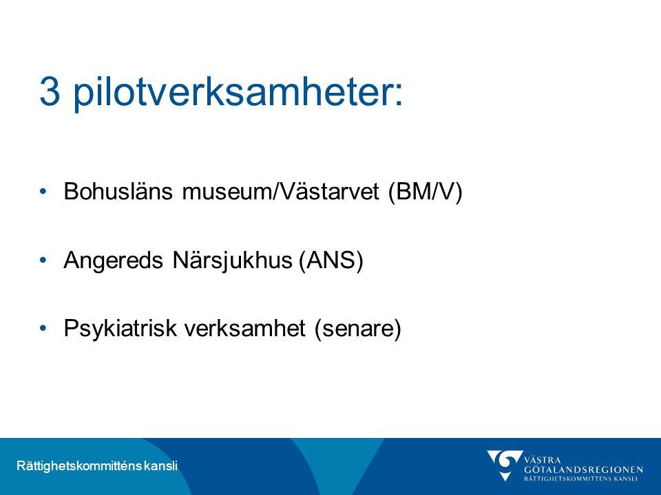 Rättighetskommitténs kansli 3 pilotverksamheter: Bohusläns museum/Västarvet (BM/V) Angereds Närsjukhus (ANS) Psykiatrisk verksamhet (senare)