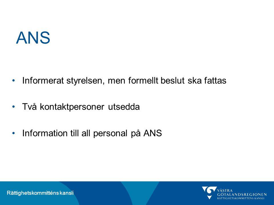 Rättighetskommitténs kansli ANS Informerat styrelsen, men formellt beslut ska fattas Två kontaktpersoner utsedda Information till all personal på ANS