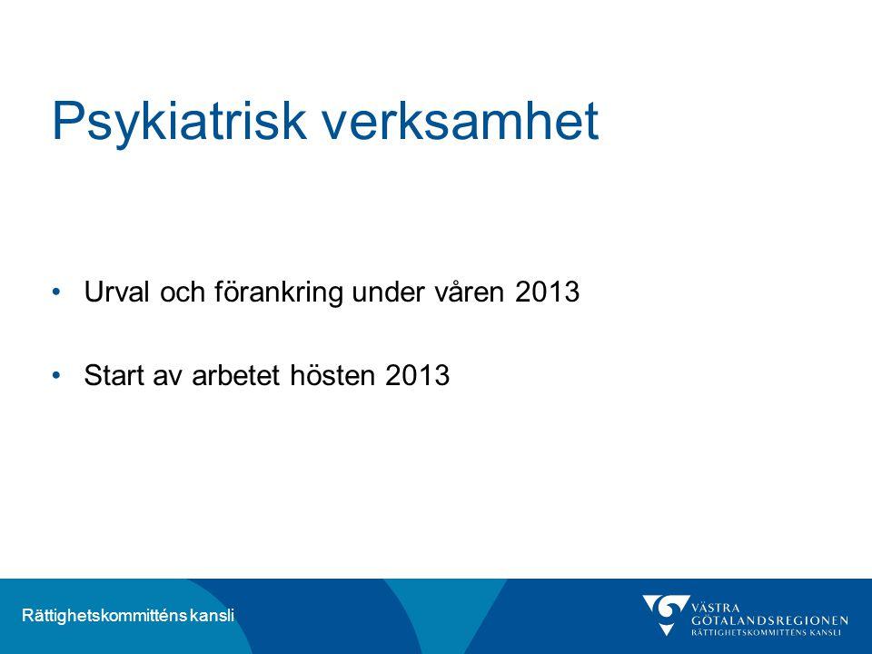 Rättighetskommitténs kansli Psykiatrisk verksamhet Urval och förankring under våren 2013 Start av arbetet hösten 2013