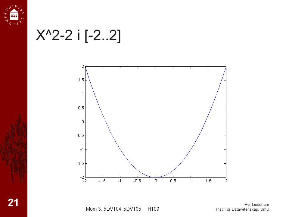 Per Lindström Inst. För Datavetenskap, UmU X^2-2 i [-2..2] 21 Mom 3, 5DV104, 5DV105 HT09