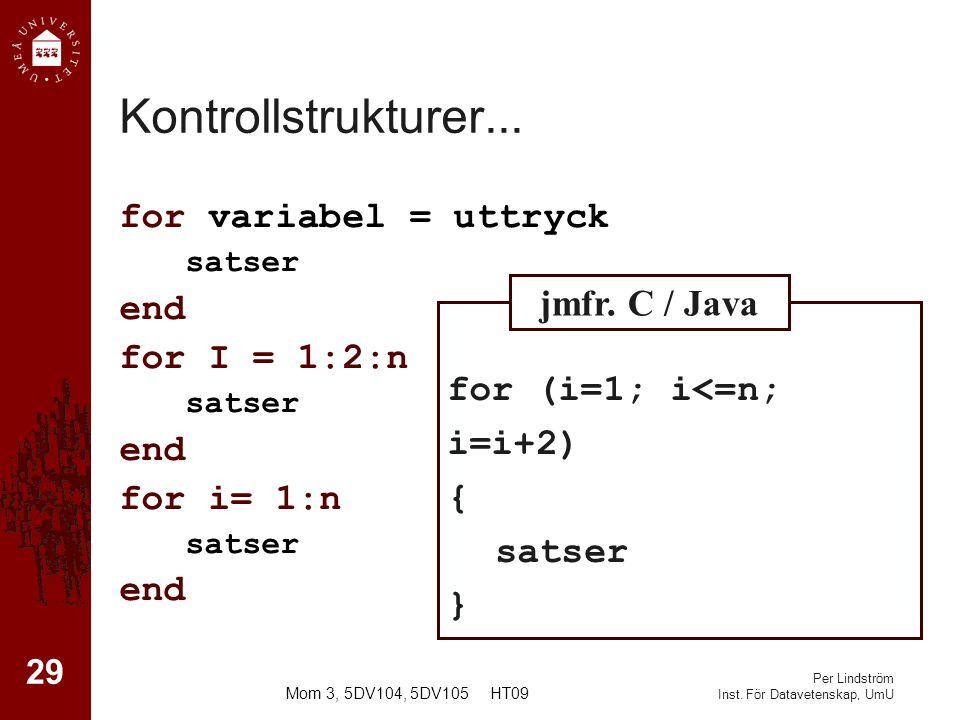 Per Lindström Inst.För Datavetenskap, UmU Kontrollstrukturer...
