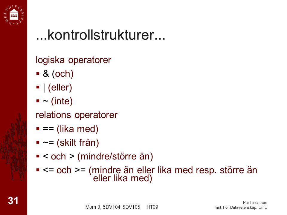 Per Lindström Inst.För Datavetenskap, UmU...kontrollstrukturer...