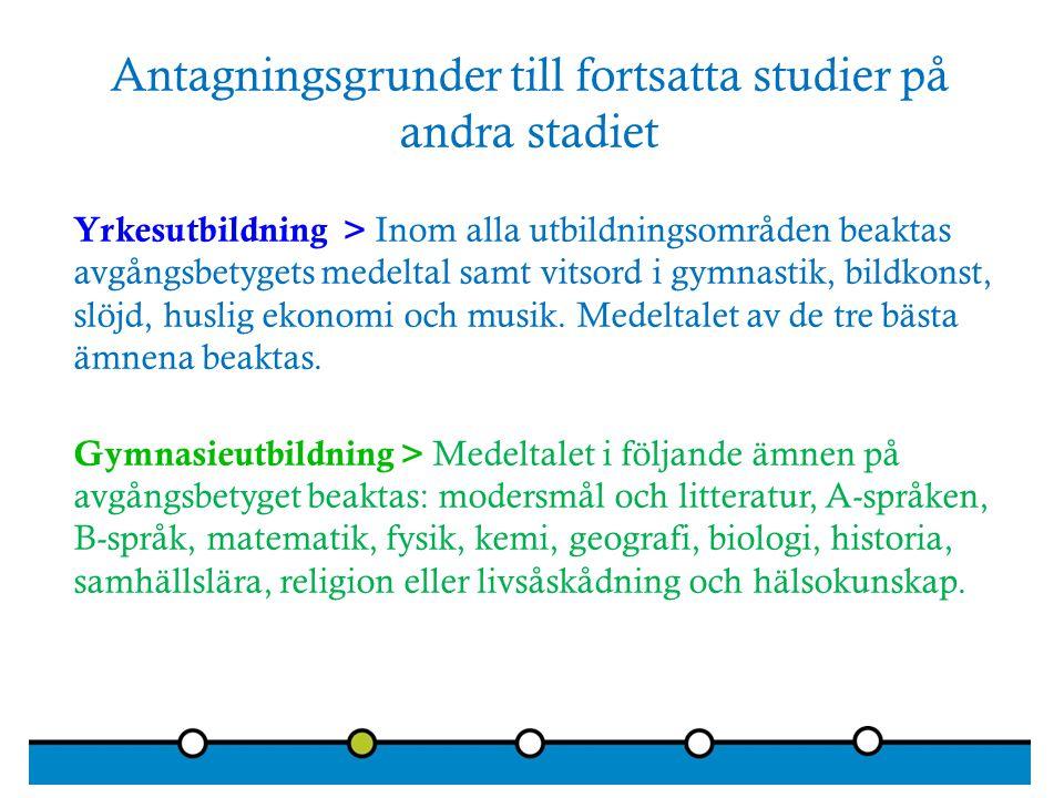 Antagningsgrunder till fortsatta studier på andra stadiet Yrkesutbildning > Inom alla utbildningsområden beaktas avgångsbetygets medeltal samt vitsord