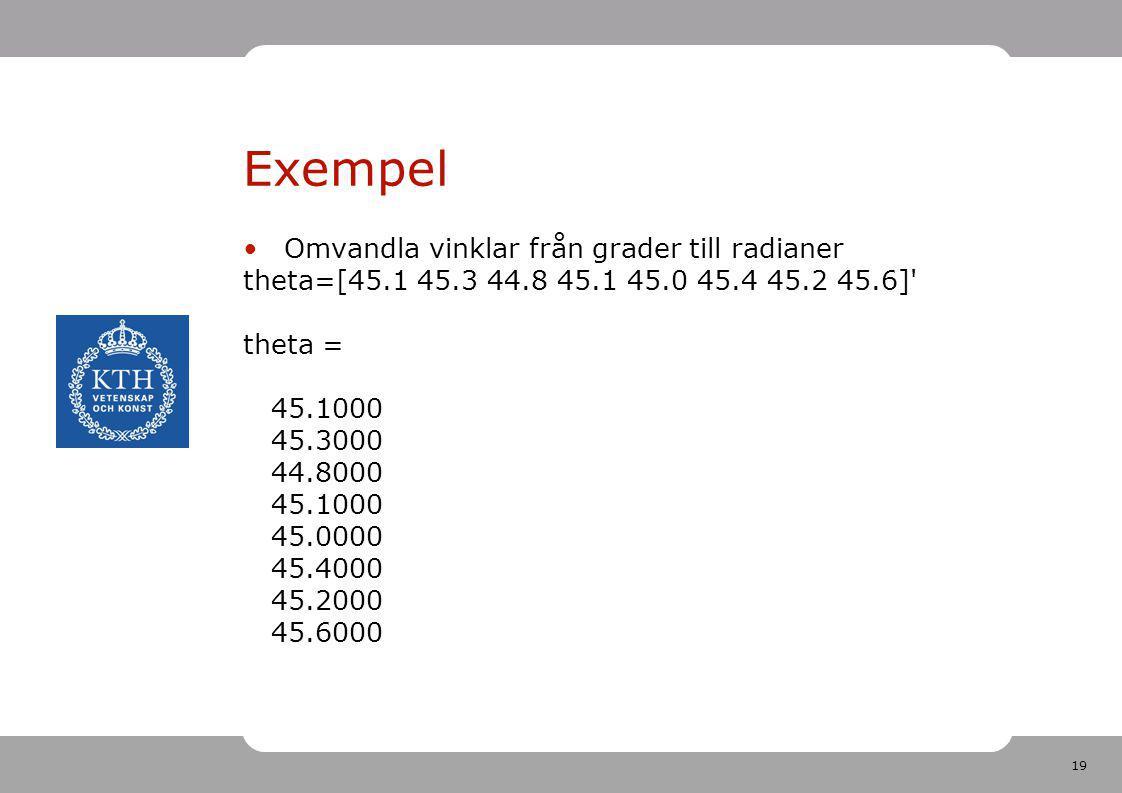 19 Exempel Omvandla vinklar från grader till radianer theta=[45.1 45.3 44.8 45.1 45.0 45.4 45.2 45.6]' theta = 45.1000 45.3000 44.8000 45.1000 45.0000