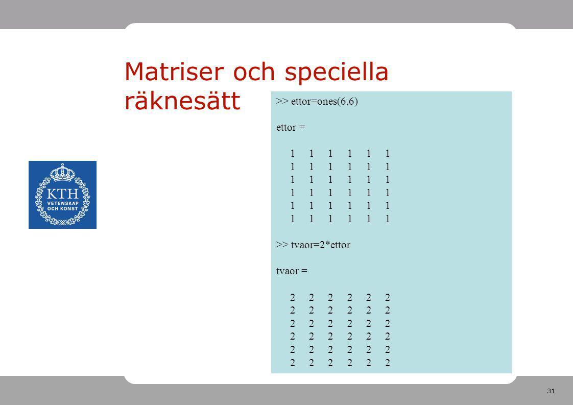 31 Matriser och speciella räknesätt >> ettor=ones(6,6) ettor = 1 1 1 1 1 1 >> tvaor=2*ettor tvaor = 2 2 2 2 2 2