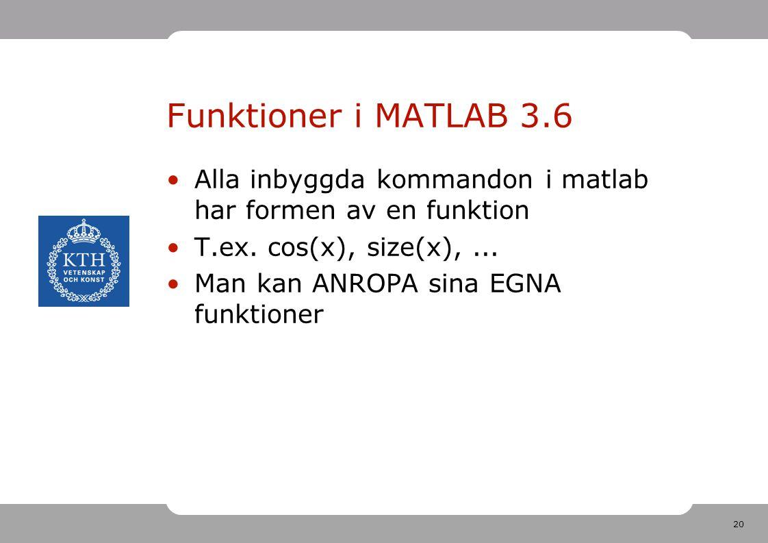 20 Funktioner i MATLAB 3.6 Alla inbyggda kommandon i matlab har formen av en funktion T.ex. cos(x), size(x),... Man kan ANROPA sina EGNA funktioner