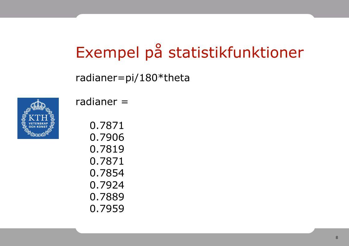 8 Exempel på statistikfunktioner radianer=pi/180*theta radianer = 0.7871 0.7906 0.7819 0.7871 0.7854 0.7924 0.7889 0.7959