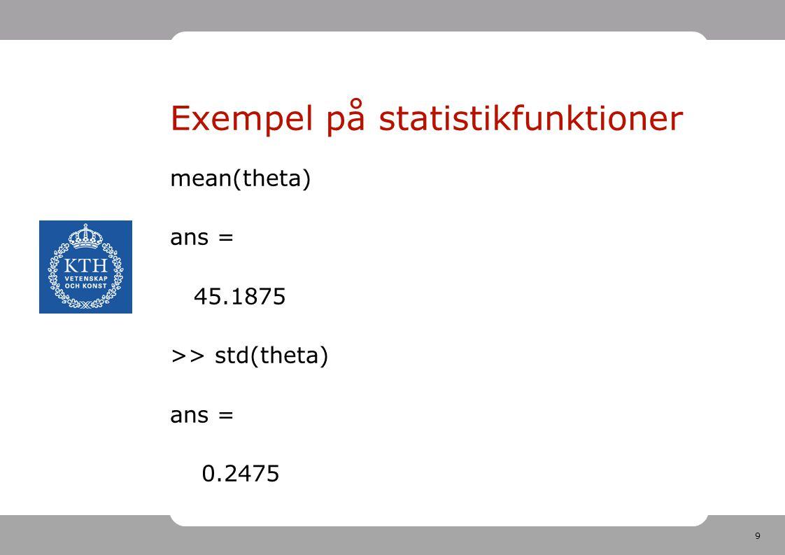 9 Exempel på statistikfunktioner mean(theta) ans = 45.1875 >> std(theta) ans = 0.2475