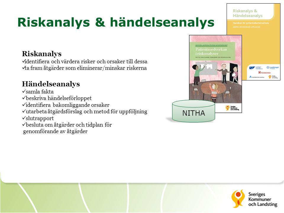 Riskanalys & händelseanalys NITHA Riskanalys identifiera och värdera risker och orsaker till dessa ta fram åtgärder som eliminerar/minskar riskerna Händelseanalys samla fakta beskriva händelseförloppet identifiera bakomliggande orsaker utarbeta åtgärdsförslag och metod för uppföljning slutrapport besluta om åtgärder och tidplan för genomförande av åtgärder
