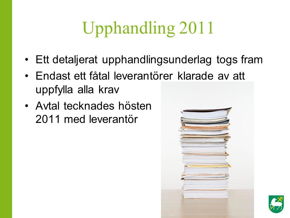 Upphandling 2011 Ett detaljerat upphandlingsunderlag togs fram Endast ett fåtal leverantörer klarade av att uppfylla alla krav Avtal tecknades hösten 2011 med leverantör