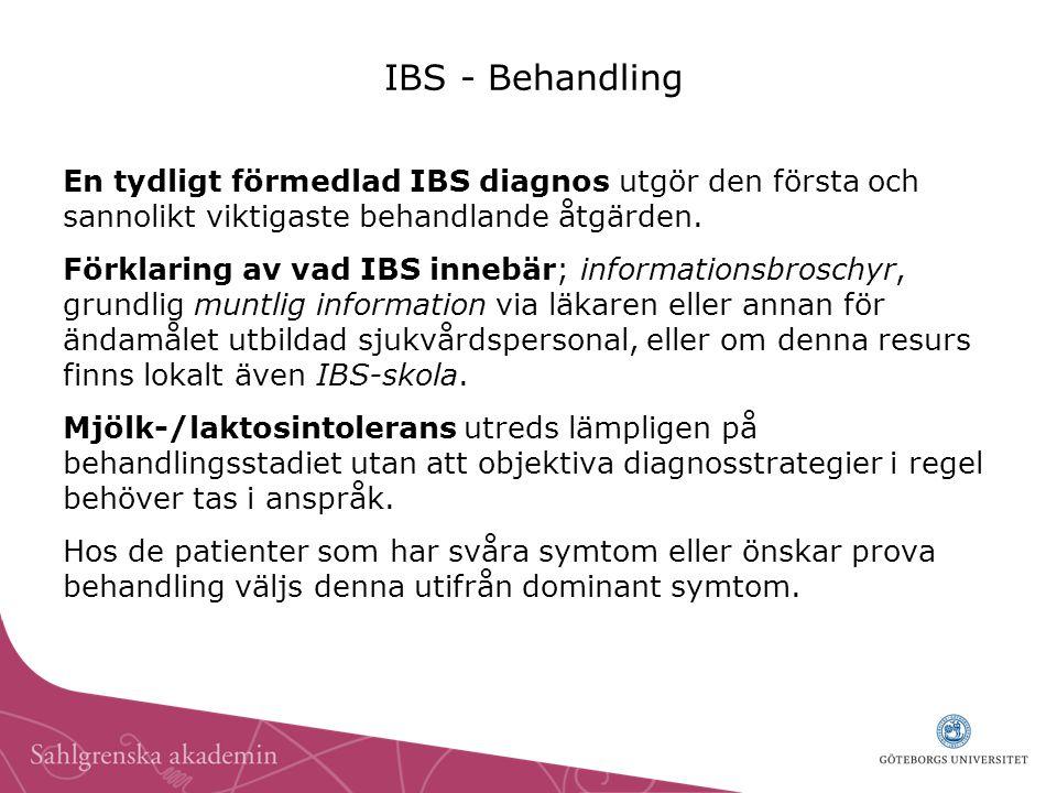 IBS - Behandling En tydligt förmedlad IBS diagnos utgör den första och sannolikt viktigaste behandlande åtgärden. Förklaring av vad IBS innebär; infor