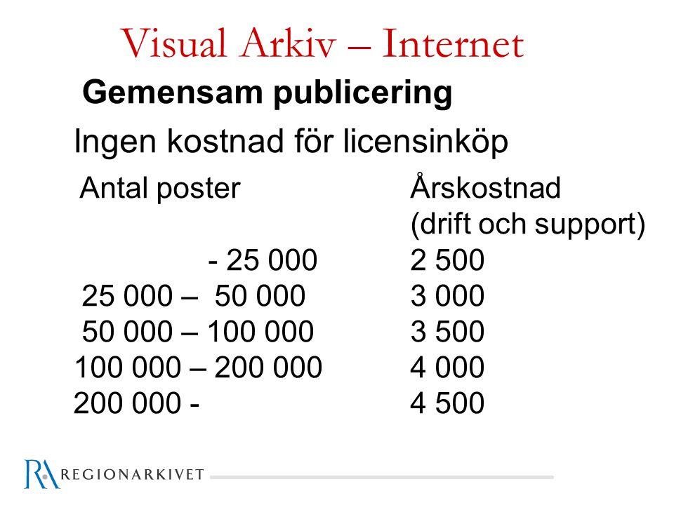 Visual Arkiv – Internet Gemensam publicering Ingen kostnad för licensinköp Antal poster Årskostnad (drift och support) - 25 0002 500 25 000 – 50 0003 000 50 000 – 100 0003 500 100 000 – 200 000 4 000 200 000 - 4 500