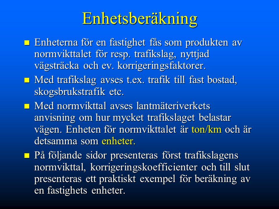 Trafikslag ULA Trafik till fast bostad ULA Trafik till fast bostad ULMTrafik till fast bostad då ägarna bor och arbetar på gården ULMTrafik till fast bostad då ägarna bor och arbetar på gården ULLTrafik till fritidsbostad ULLTrafik till fritidsbostad MeLSkogsbrukstrafik MeLSkogsbrukstrafik ULVLantbrukets yttre trafik = t.ex.