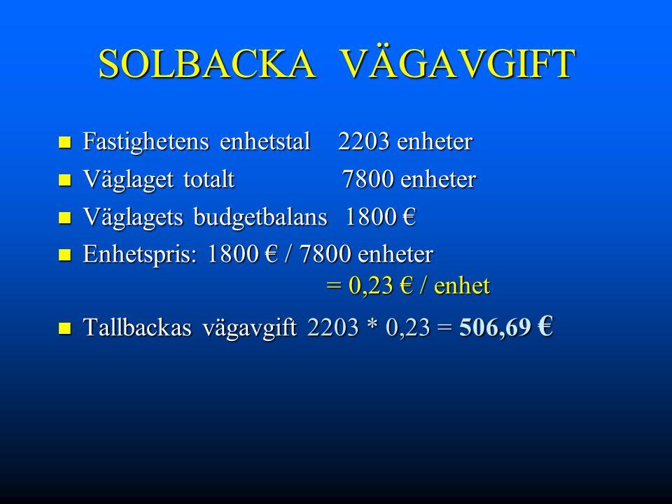 SOLBACKA VÄGAVGIFT Fastighetens enhetstal 2203 enheter Fastighetens enhetstal 2203 enheter Väglaget totalt 7800 enheter Väglaget totalt 7800 enheter V