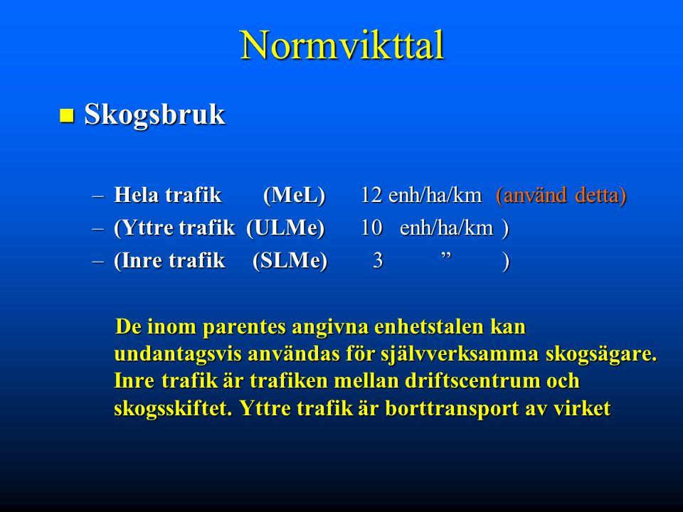 """Normvikttal Skogsbruk Skogsbruk –Hela trafik(MeL) 12 enh/ha/km (använd detta) –(Yttre trafik (ULMe) 10 enh/ha/km ) –(Inre trafik (SLMe) 3 """" ) De inom"""