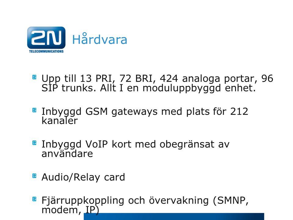 Hårdvara Upp till 13 PRI, 72 BRI, 424 analoga portar, 96 SIP trunks. Allt I en moduluppbyggd enhet. Inbyggd GSM gateways med plats för 212 kanaler Inb