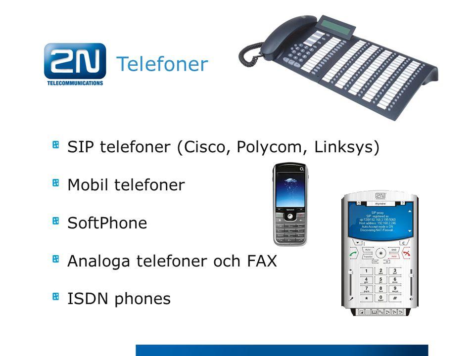 Telefoner SIP telefoner (Cisco, Polycom, Linksys) Mobil telefoner SoftPhone Analoga telefoner och FAX ISDN phones