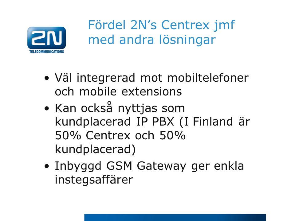 Fördel 2N's Centrex jmf med andra lösningar Väl integrerad mot mobiltelefoner och mobile extensions Kan också nyttjas som kundplacerad IP PBX (I Finla