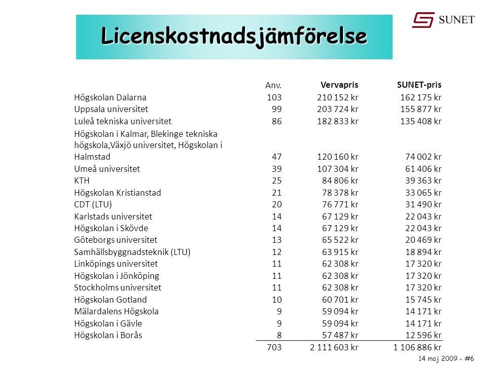 14 maj 2009 - #6 Licenskostnadsjämförelse Anv. VervaprisSUNET-pris Högskolan Dalarna103210 152 kr162 175 kr Uppsala universitet99203 724 kr155 877 kr