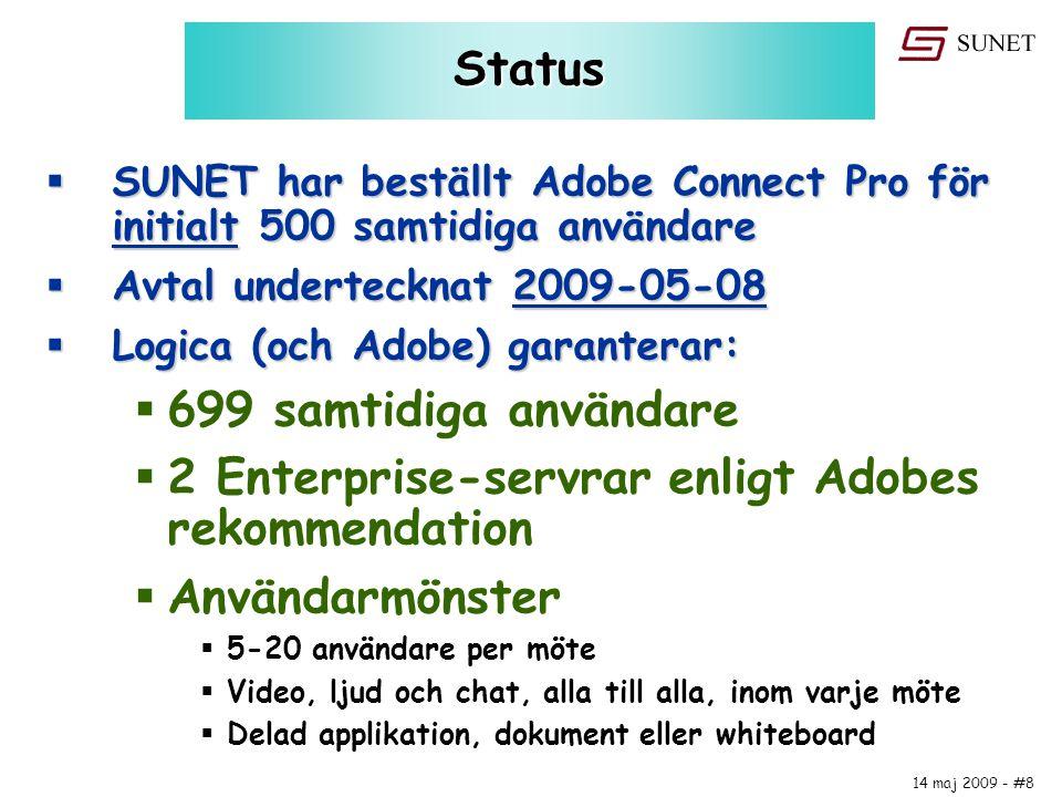 14 maj 2009 - #8 Status  SUNET har beställt Adobe Connect Pro för initialt 500 samtidiga användare  Avtal undertecknat 2009-05-08  Logica (och Adob