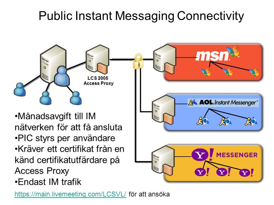 Public Instant Messaging Connectivity LCS 2005 Access Proxy Månadsavgift till IM nätverken för att få ansluta PIC styrs per användare Kräver ett certifikat från en känd certifikatutfärdare på Access Proxy Endast IM trafik https://main.livemeeting.com/LCSVL/https://main.livemeeting.com/LCSVL/ för att ansöka