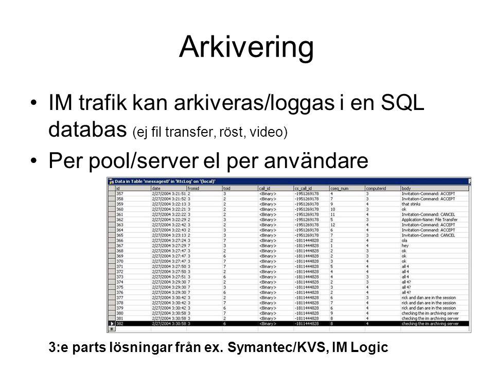 Arkivering IM trafik kan arkiveras/loggas i en SQL databas (ej fil transfer, röst, video) Per pool/server el per användare 3:e parts lösningar från ex.