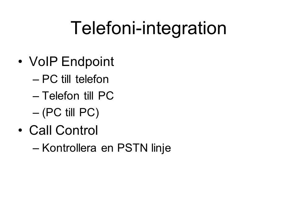 Telefoni-integration VoIP Endpoint –PC till telefon –Telefon till PC –(PC till PC) Call Control –Kontrollera en PSTN linje