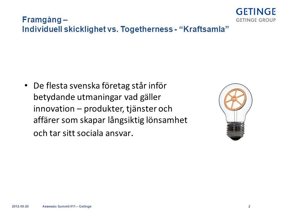 """Framgång – Individuell skicklighet vs. Togetherness - """"Kraftsamla"""" 2012-09-20Assessio Summit #11 – Getinge2 De flesta svenska företag står inför betyd"""