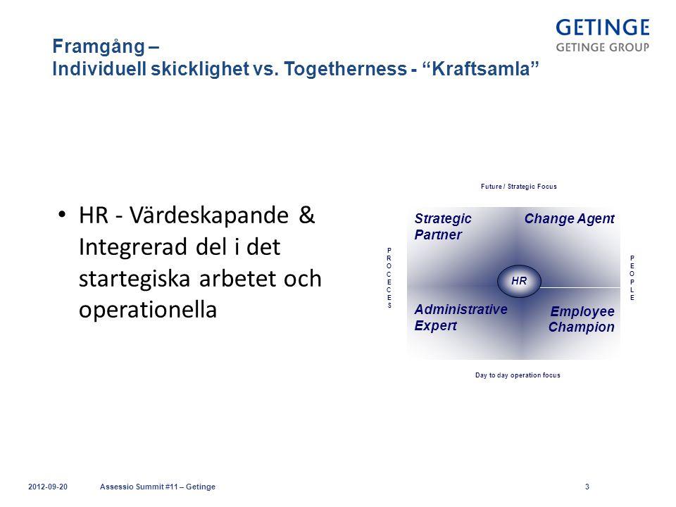 """Framgång – Individuell skicklighet vs. Togetherness - """"Kraftsamla"""" 2012-09-20Assessio Summit #11 – Getinge3 HR - Värdeskapande & Integrerad del i det"""