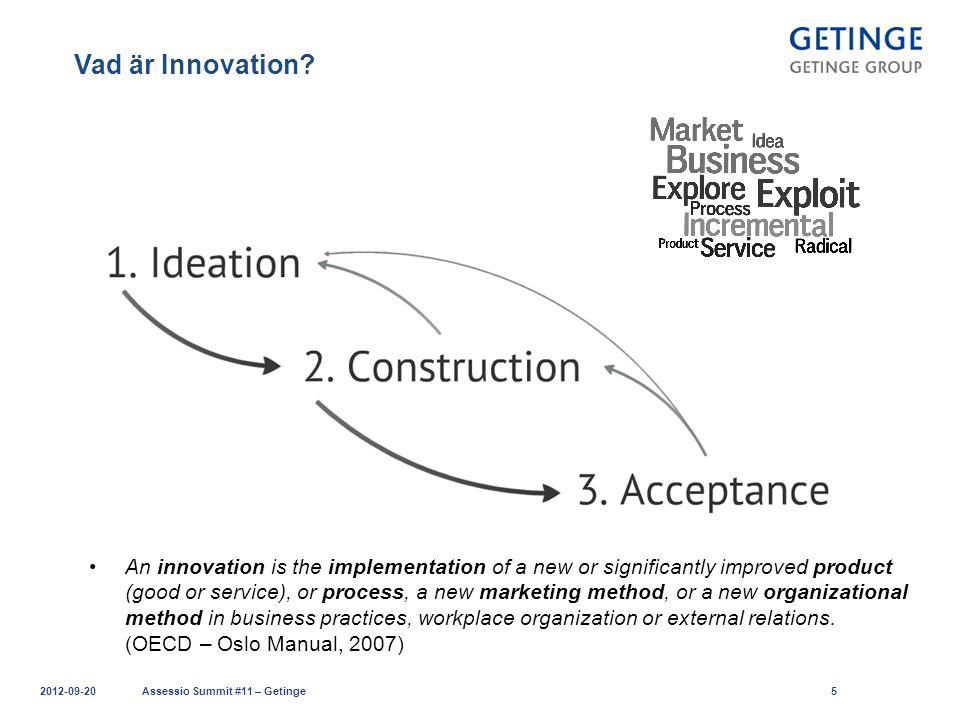 Lyckas med Innovation 2012-09-20Assessio Summit #11 – Getinge16