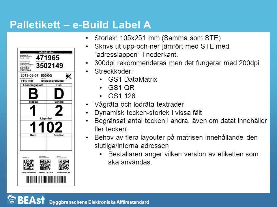 Byggbranschens Elektroniska Affärsstandard Palletikett – e-Build Label A Storlek: 105x251 mm (Samma som STE) Skrivs ut upp-och-ner jämfört med STE med