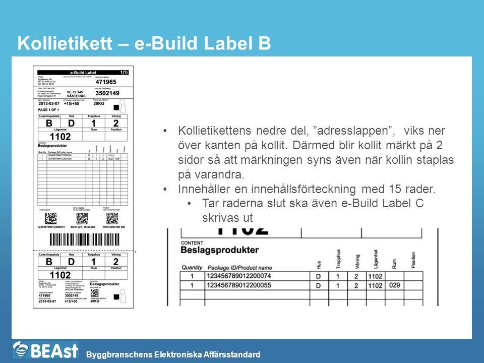 """Byggbranschens Elektroniska Affärsstandard Kollietikett – e-Build Label B Kollietikettens nedre del, """"adresslappen"""", viks ner över kanten på kollit. D"""