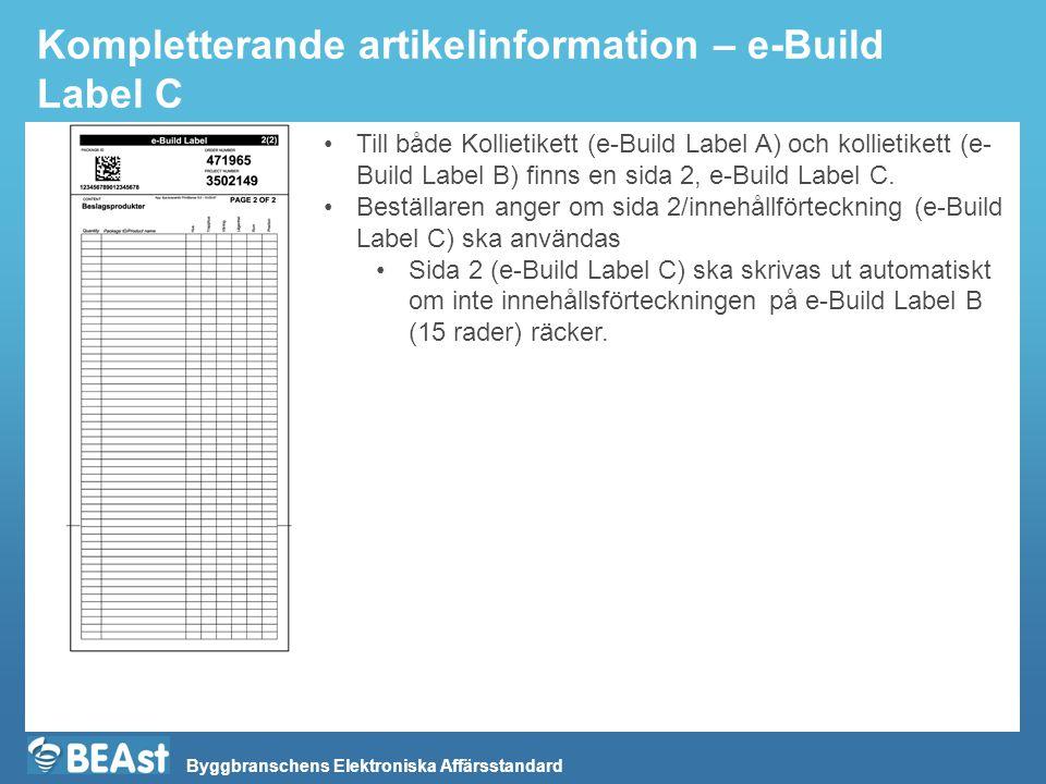 Byggbranschens Elektroniska Affärsstandard Kompletterande artikelinformation – e-Build Label C Till både Kollietikett (e-Build Label A) och kollietike