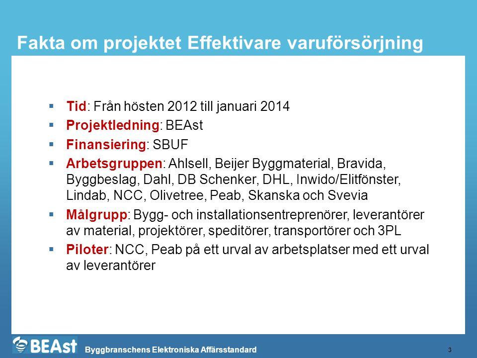 Byggbranschens Elektroniska Affärsstandard Fakta om projektet Effektivare varuförsörjning 3  Tid: Från hösten 2012 till januari 2014  Projektledning