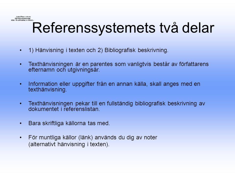 Referenssystemets två delar 1) Hänvisning i texten och 2) Bibliografisk beskrivning. Texthänvisningen är en parentes som vanligtvis består av författa