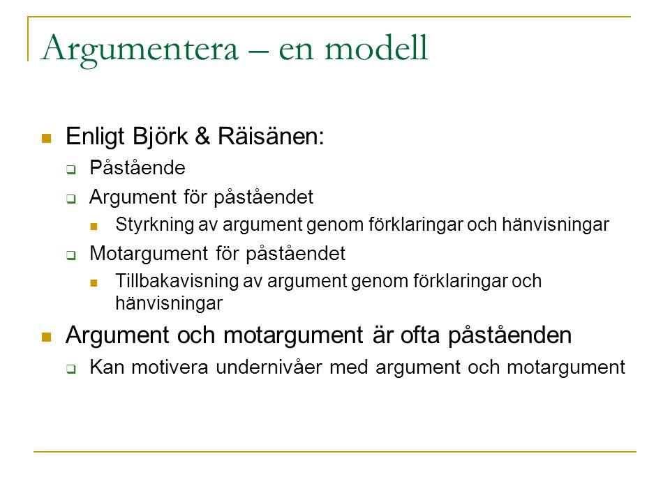 Argumentera – en modell Enligt Björk & Räisänen:  Påstående  Argument för påståendet Styrkning av argument genom förklaringar och hänvisningar  Mot