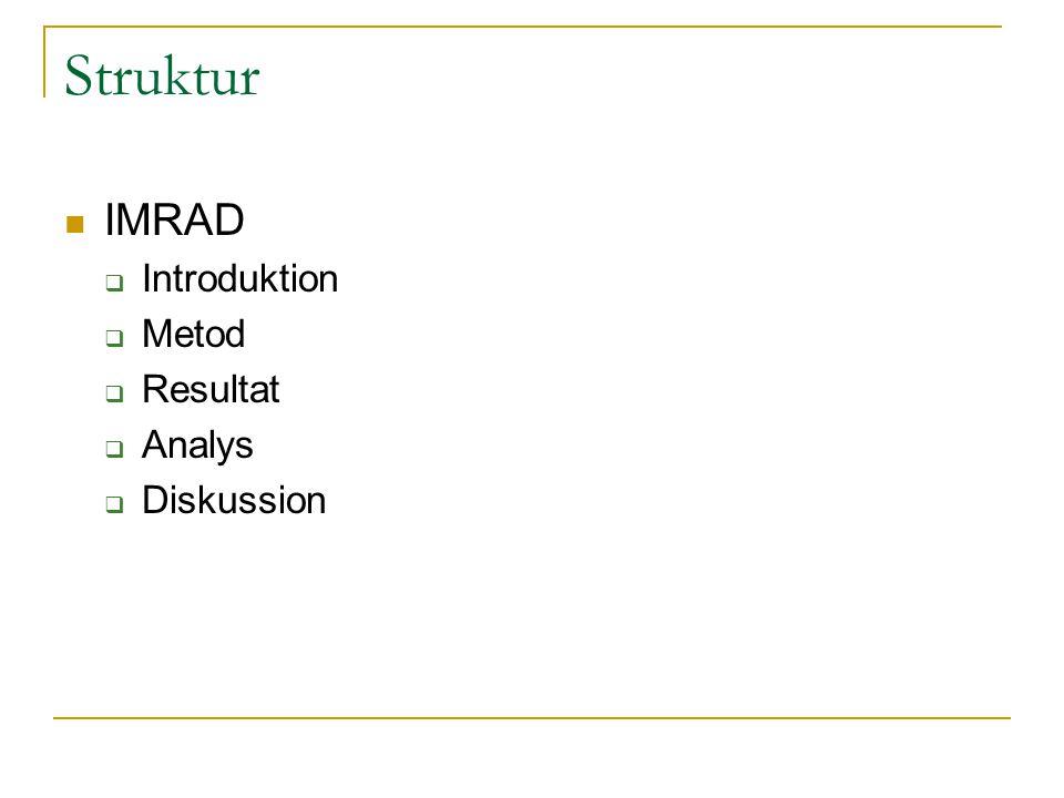 Struktur IMRAD  Introduktion  Metod  Resultat  Analys  Diskussion