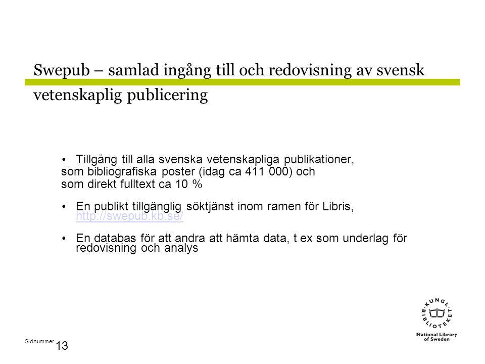 Sidnummer 13 Swepub – samlad ingång till och redovisning av svensk vetenskaplig publicering Tillgång till alla svenska vetenskapliga publikationer, som bibliografiska poster (idag ca 411 000) och som direkt fulltext ca 10 % En publikt tillgänglig söktjänst inom ramen för Libris, http://swepub.kb.se/ http://swepub.kb.se/ En databas för att andra att hämta data, t ex som underlag för redovisning och analys