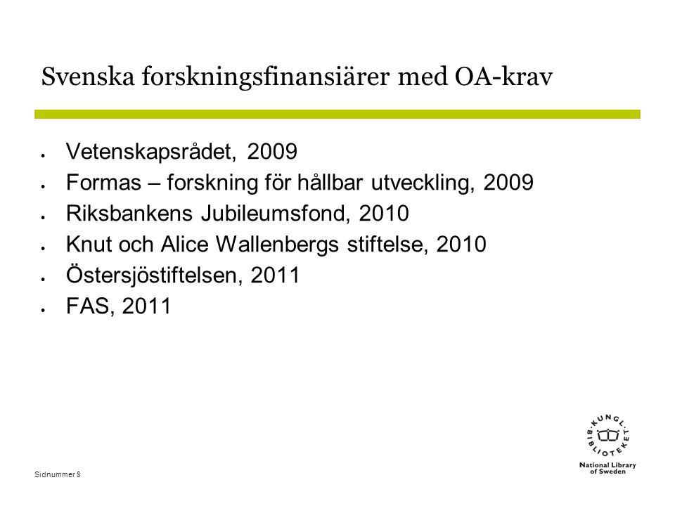 Sidnummer8 Svenska forskningsfinansiärer med OA-krav  Vetenskapsrådet, 2009  Formas – forskning för hållbar utveckling, 2009  Riksbankens Jubileumsfond, 2010  Knut och Alice Wallenbergs stiftelse, 2010  Östersjöstiftelsen, 2011  FAS, 2011