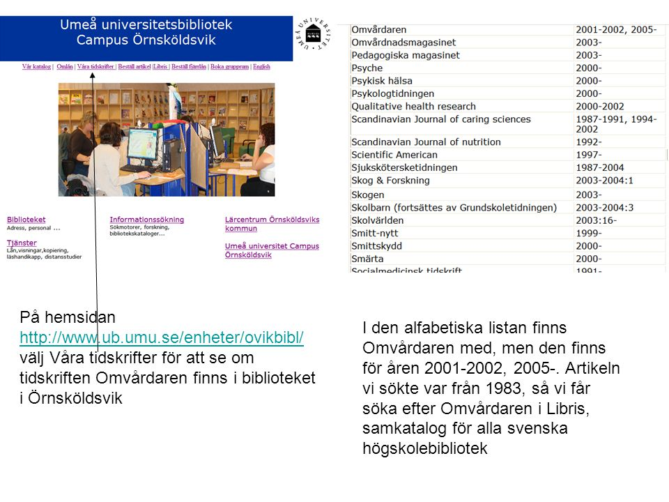 På hemsidan http://www.ub.umu.se/enheter/ovikbibl/ välj Våra tidskrifter för att se om tidskriften Omvårdaren finns i biblioteket i Örnsköldsvik http://www.ub.umu.se/enheter/ovikbibl/ I den alfabetiska listan finns Omvårdaren med, men den finns för åren 2001-2002, 2005-.