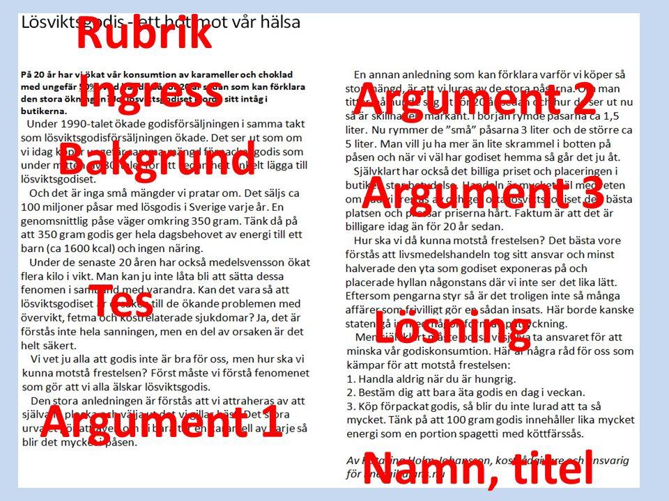 Rubrik Ingress Bakgrund Tes Argument 1 Argument 2 Argument 3 Lösning Namn, titel