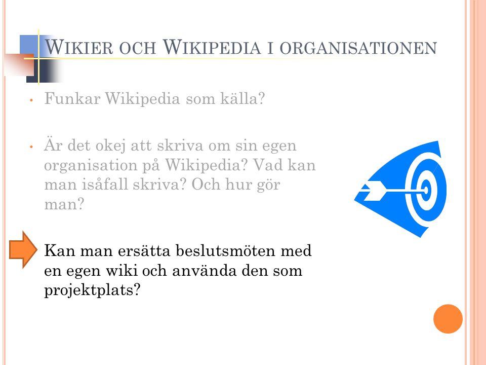 W IKIER OCH W IKIPEDIA I ORGANISATIONEN Funkar Wikipedia som källa? Är det okej att skriva om sin egen organisation på Wikipedia? Vad kan man isåfall
