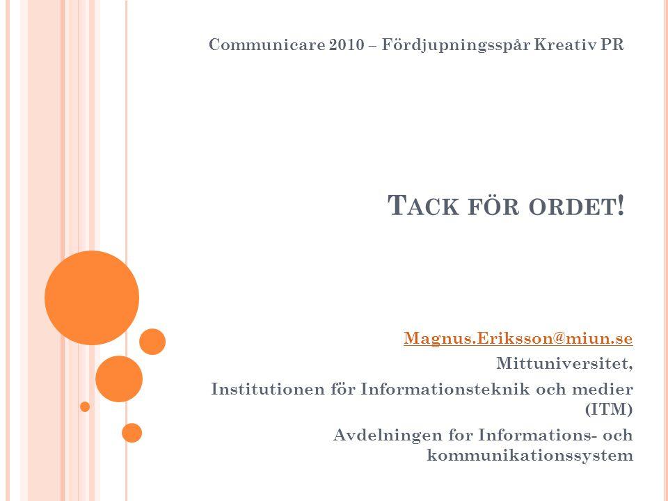 T ACK FÖR ORDET ! Magnus.Eriksson@miun.se Mittuniversitet, Institutionen för Informationsteknik och medier (ITM) Avdelningen for Informations- och kom