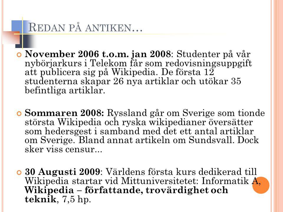 R EDAN PÅ ANTIKEN … November 2006 t.o.m. jan 2008 : Studenter på vår nybörjarkurs i Telekom får som redovisningsuppgift att publicera sig på Wikipedia