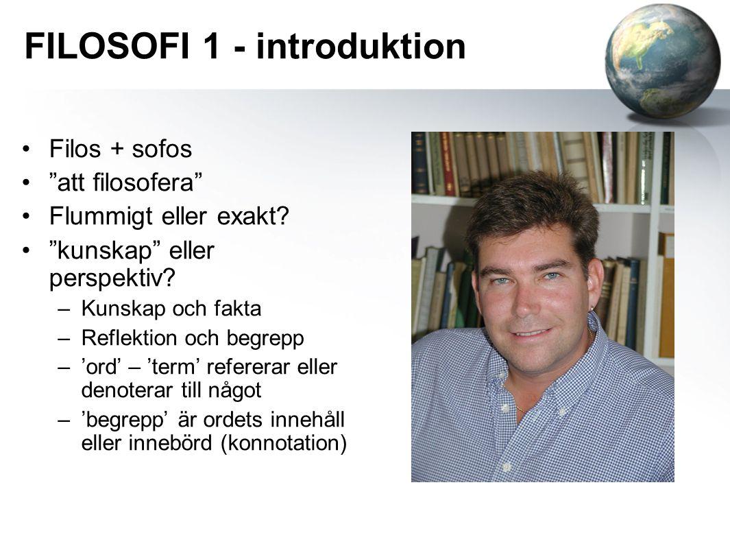 """FILOSOFI 1 - introduktion Filos + sofos """"att filosofera"""" Flummigt eller exakt? """"kunskap"""" eller perspektiv? –Kunskap och fakta –Reflektion och begrepp"""