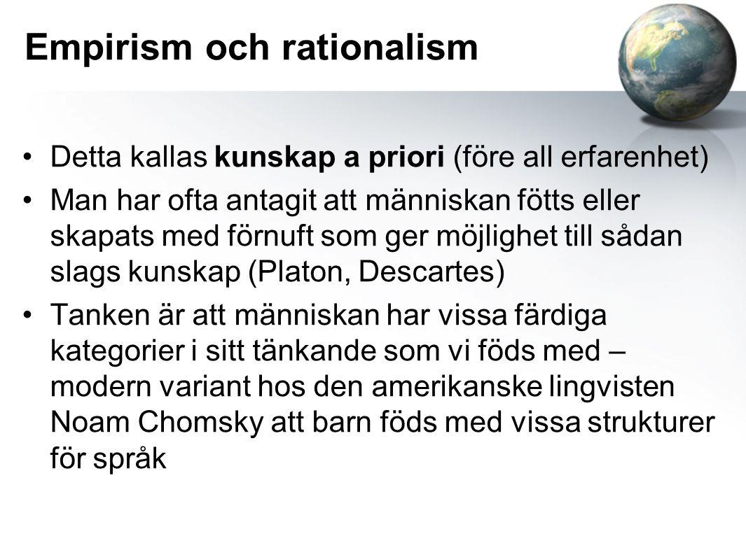 Empirism och rationalism Detta kallas kunskap a priori (före all erfarenhet) Man har ofta antagit att människan fötts eller skapats med förnuft som ge