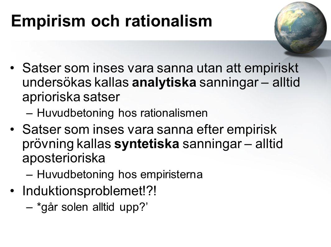 Empirism och rationalism Satser som inses vara sanna utan att empiriskt undersökas kallas analytiska sanningar – alltid aprioriska satser –Huvudbetoni